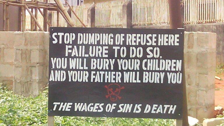 Refuse dump sign