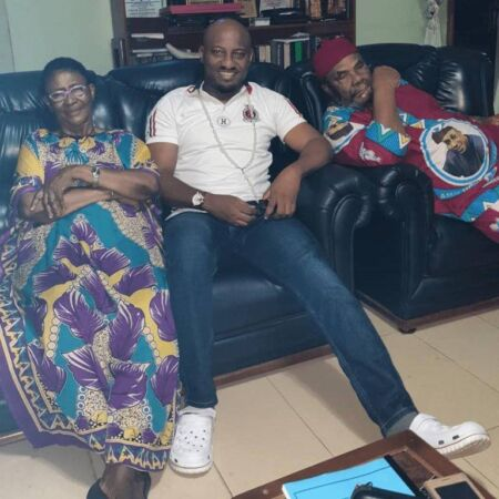 Yul Edochie pays a special visit to his Mum and Dad, after a longspun 5