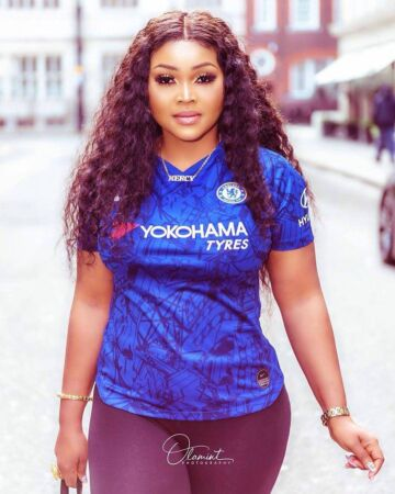 Mercy Aigbe on chelsea Jersey