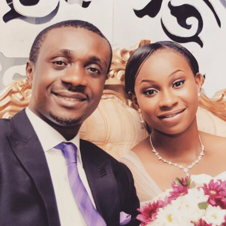 Sarah Bassey and Nathaniel Bassey on their wedding day